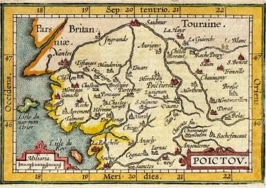 BERTIUS LANGENES MAP OF POITOU 1606