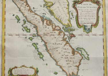 BELLIN'S MAP OF SUMATRA STRAITS OF SINGAPORE