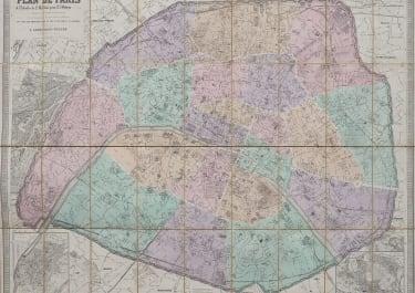 SUPERB MONUMENTAL MAP OF PARIS  1876