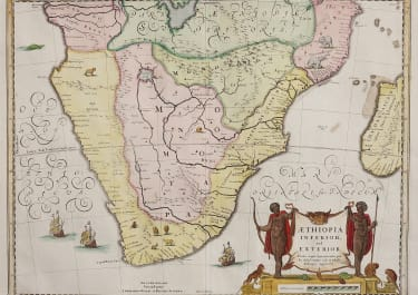 BLAEU MAP OF SOUTHERN AFRICA ISSUED BY SCHENK VALK IN FULL ORIGINAL COLOUR