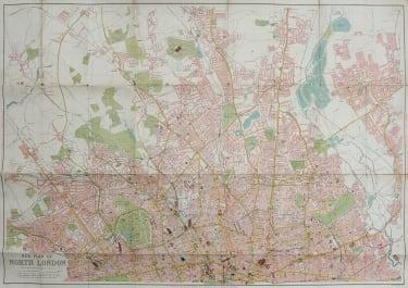INTERESTING FOLDING MAP OF NORTH LONDON