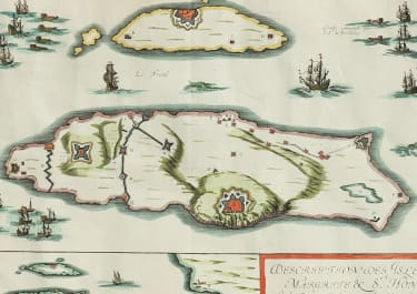 TAVERNIERS RARE CHART OF CANNES AND ISLES LERINS 1637
