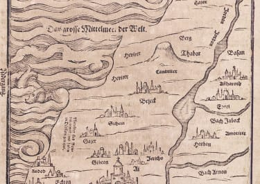BUNTING   RARE MAP OF CANAAN 1581