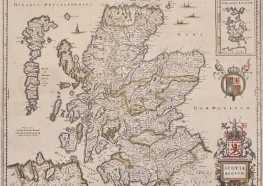 JANSSONIUS ORIGINAL OUTLINE COLOUR MAP OF SCOTLAND