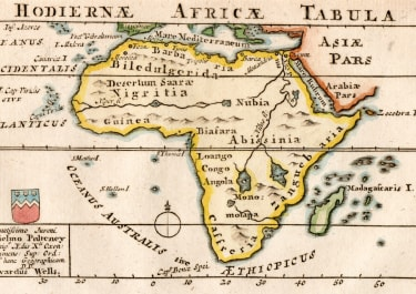 WELLS SCARCE MINIATURE MAP OF AFRICA