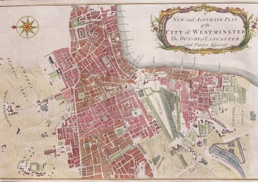 SCARCE MAP OF WESTMINSTER   1756