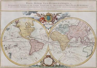 RARE WORLD MAP JAILLOT  BRION DE LA TOUR   VOYAGES COOK 1786