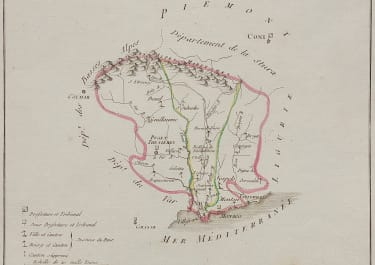 RARE MAP OF NAPOLEONS FIRST CREATION OF 'ALPES MARITIMES' 1800  BY CHANLAIRE