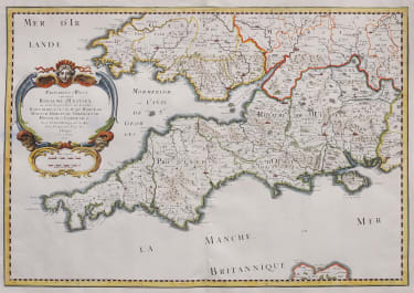 SANSON'S UNCOMMON MAP OF THE SOUTH WEST OF BRITISH ISLES