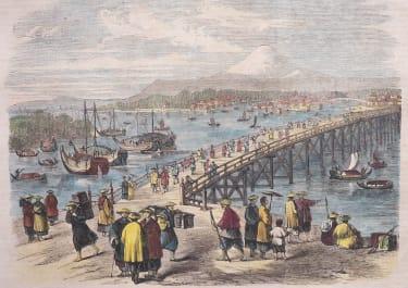 TOKYO  PAIR OF WOODBLOCK VIEWS 1860