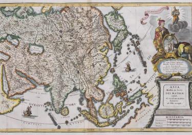 SCHERER'S SCARCE MAP OF ASIA  1700
