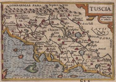 TUSCANY  LANGENES  BERTIUS   SCARCE MAP   1602