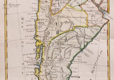 BONNE'S MAP OF CHILI ARGENTINA  PARAGUAY PATAGONIA 1780