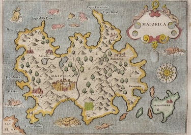 MAGINI'S MAP OF MAJORCA  MALLORCA  1572