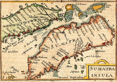 EARLY MAP OF SUMATRA BY LANGENES  1602