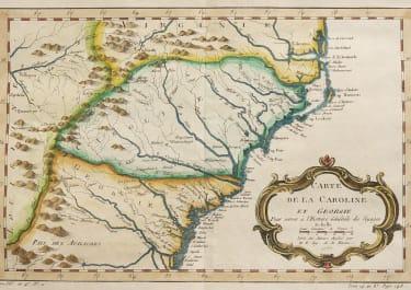 BELLIN MAP OF THE CAROLINAS AND GEORGIA