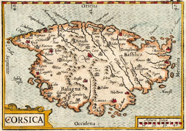 LANGENES EARLY MAP OF CORSICA