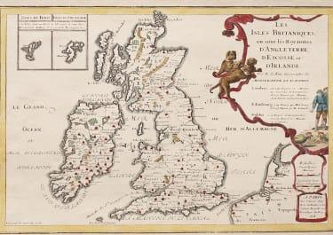 DE FER  SCARCE MAP OF BRITISH ISLES   ATLAS CURIEUX 1705