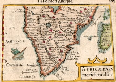 LANGENES BERTIUS EARLY MAP OF SOUTH AFRICA 1600