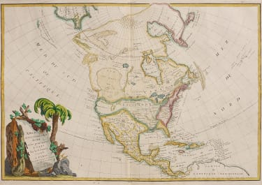 JANVIER'S MAP OF NORTH AMERICA WITH BAYE DE L'OUEST 1762
