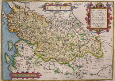 STUNNING ORTELIUS FOLIO MAP OF POITOU  TITLE HIGHLIGHTED IN GOLD  1598