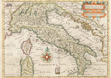 RARE MAP OF ITALY BY DAVID CUSTOS 1626