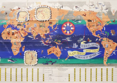 WORLD MAP GAME  CHOCOLAT MENIER BY  JANNOT 1956