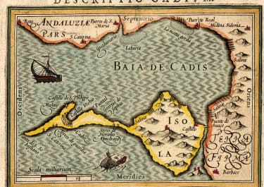 BERTIUS EARLY MAP OF CADIZ  1606
