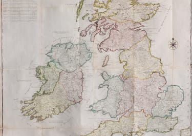 VERY LARGE WALL MAP OF BRITISH ISLES BY DESNOS 1778