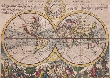 MOLL  SCARCE DECORATIVE WORLD MAP