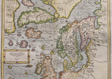 MUNSTER SOUGHT AFTER NORTH ATLANTIC MAP  FICTITIOUS ISLANDS   1588