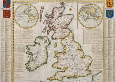 CHATELAIN  STUNNING AND INFORMATIVE MAP OF BRITISH ISLES AND DOMINIONS IN 1700