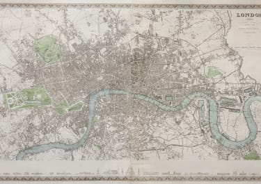 LONDON BY MEYER 1845  THE GERMAN DECORATIVE SDUK MAP