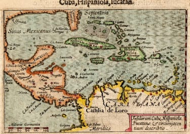 LANGENES SCARCE MAP OF THE CARIBBEAN 1600