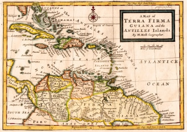 MOLL MAP OF THE WEST INDIES AND TERRA FIRMA