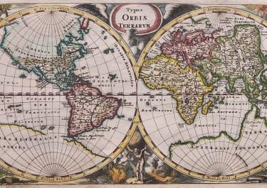 CLUVER DECORATIVE HEMISPHERES WORLD MAP .. TYPUS ORBIS TERRARUM