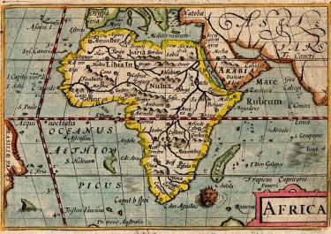 RARE LANGENES BARENTS MAP OF AFRICA 1600