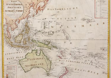 SCARCE MAP OF AUSTRALASIA WITH AUSTRALIA NAMED AS ULIMAROA    HOMANN HEIRS 1806