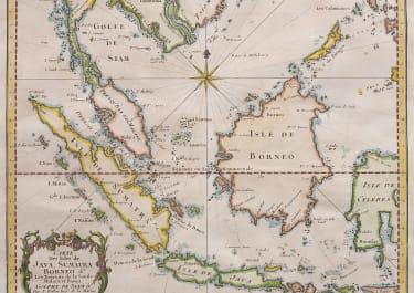 BELLIN MAP OF BORNEO SUMATRA MALAYSIA  JAVA 1750