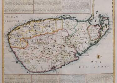 SCARCE MAP OF CEYLON  SRI LANKA  BY CHATELAIN 1719