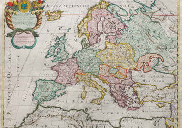 SUPERB MAP OF EUROPE BY ROSSI 1677