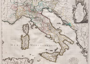RARE LE ROUGE FOLIO MAP OF ITALY 1743