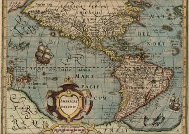 SUPERB DECORATIVE AMERICAS MAP.  EARLY MERCATOR HONDIUS ATLAS MINOR 1608