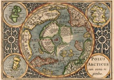 NORTH POLE MERCATOR HONDIUS ATLAS MINOR 1608