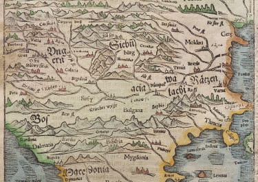MUNSTER'S EARLY MAP OF HUNGARY TRANSYLVANIA