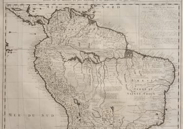CHATELAIN  DETAILED SCARCE EARLY MAP OF AMAZON
