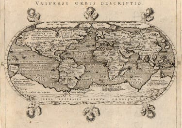 MAGINI BEAUTIFUL RARE  SMALL WORLD MAP  OVAL WITH WINDHEADS 1597