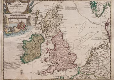 COVENS MORTIER MAP OF BRITISH ISLES ORIGINAL COLOUR 1720