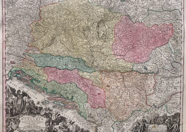 SUPERB SEUTTER MAP OF HUNGARY SERBIA DALMATIA