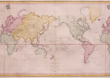 STUNNING  VERY LARGE WORLD MAP OF THE VOYAGE OF LA PEROUSE 1785, 86,87 ET 88